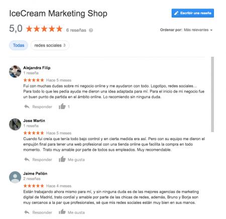 Reviews perfil Google IceCream Marketing Shop